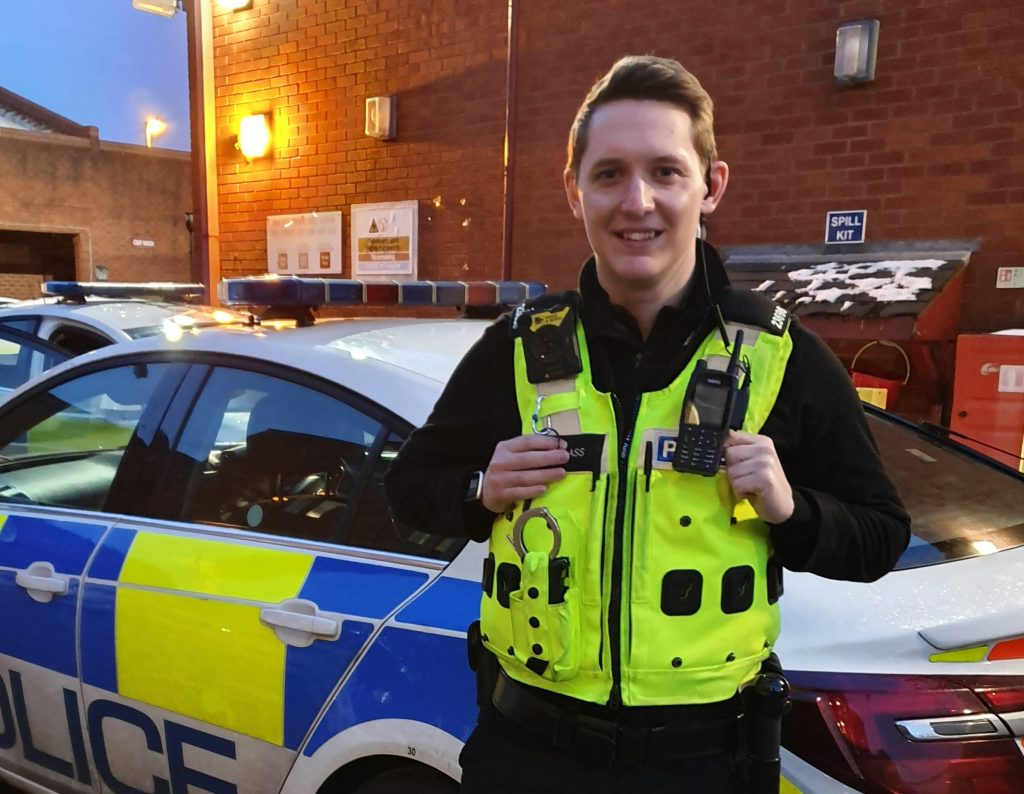 Student officer, PC Gareth Glass on duty.